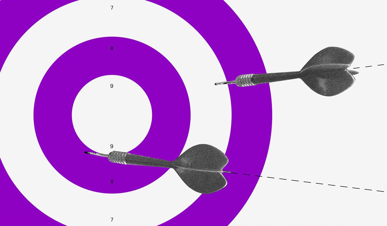 Modelo de orçamento: Ilustração de um alvo com círculos roxos e brancos e dardos acertando alguns pontos