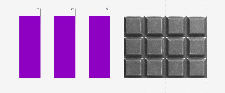 Parcelamento simples nacional: imagem mostra três retângulos roxos. Depois, uma barra de chocolate com linhas cortando as fileiras.