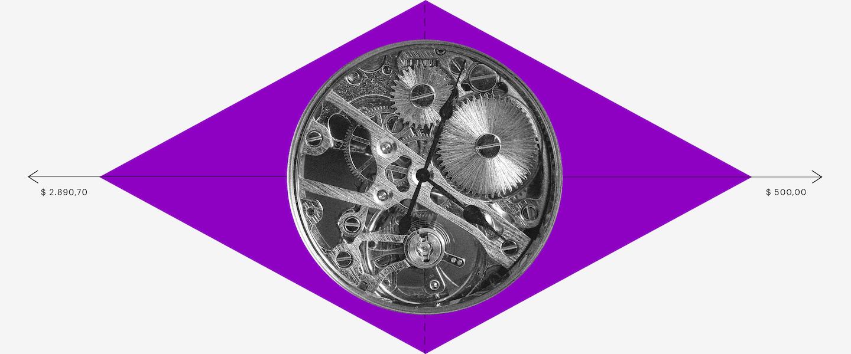 Cálculo FGTS: Imagem de uma bandeira do Brasil, mas o losango é roxo e o círculo é a engrenagem de um relógio