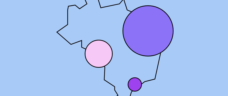Ilustração com o contorno do mapa do Brasil sobre um fundo azul claro. Três bolas de tamanho diferentes aparecem em pontos distintos no mapa, uma roxa, uma roxa e outra lilás