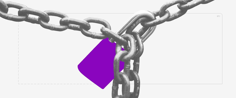 Imagem de um cadeado roxo preso por uma corrente