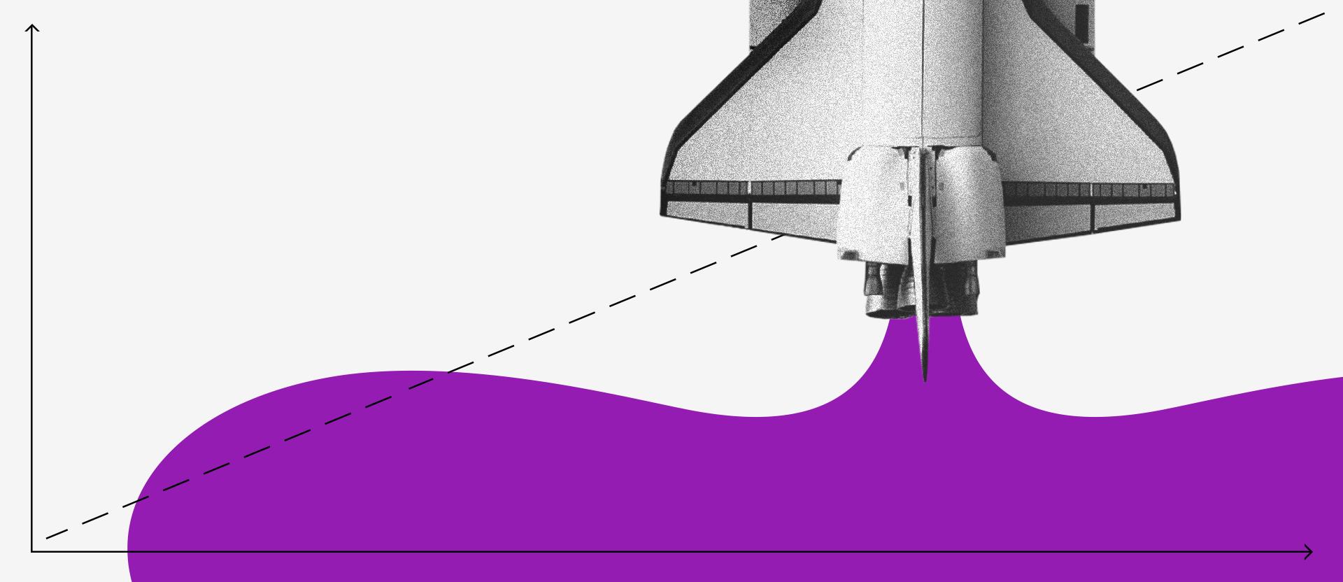 Colagem de um foguete partindo para cima. Da turbina sai uma mancha roxa que se espalha através de um gráfico com eixos x e y