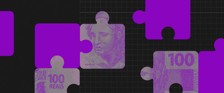 Taxa Selic 2021: ilustração mostra peças de quebra cabeças roxas e estampadas com notas de um Real
