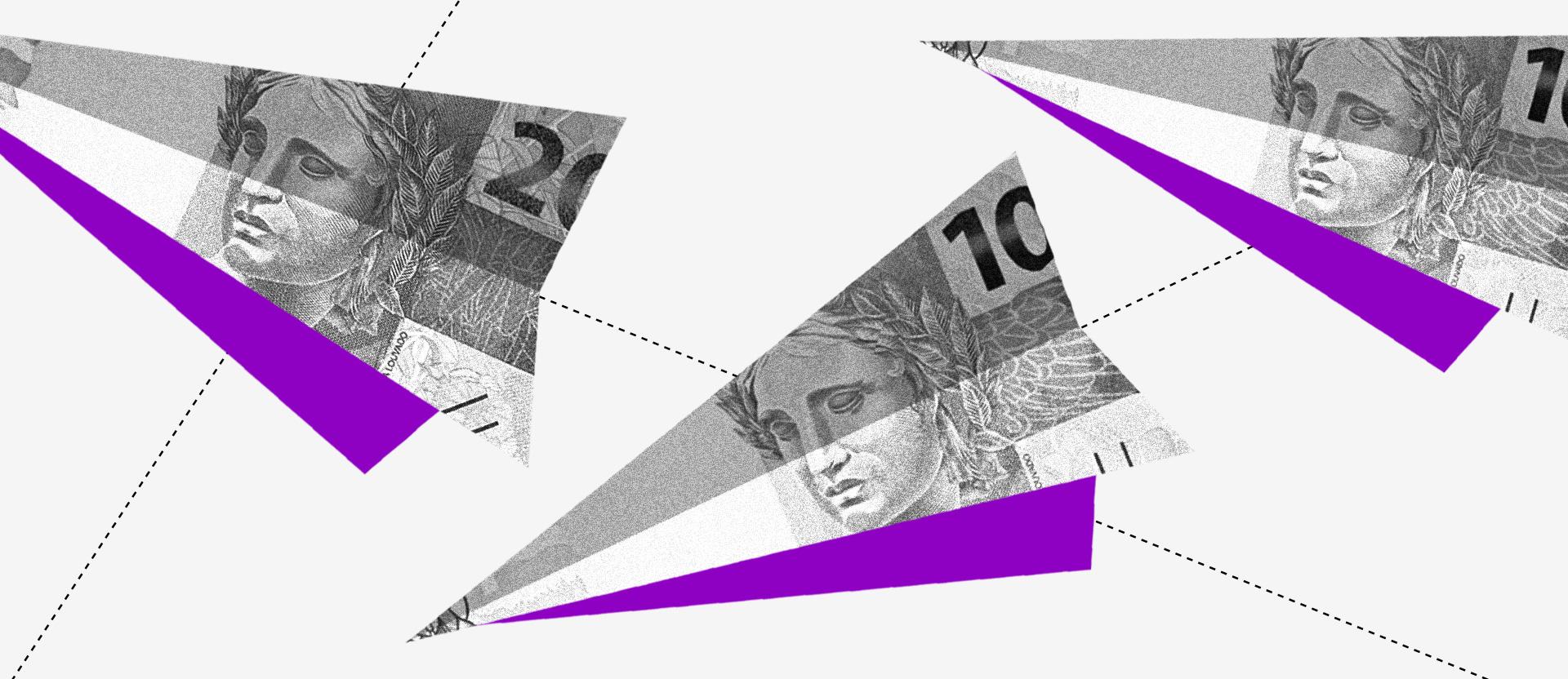 O que é ADR: colagem com diversos aviões de papel feitos, em tons de preto e branco e roxo, com notas de R$ 10 e R$ 20.