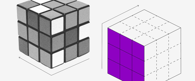 Extrato INSS: Um cubo mágico embaralhado e outro com uma face toda roxa