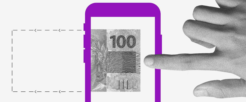 Novo auxílio emergencial: no fundo branco, colagem de um dedo tocando a tela de um celular e uma nota de 100 reais saindo dela