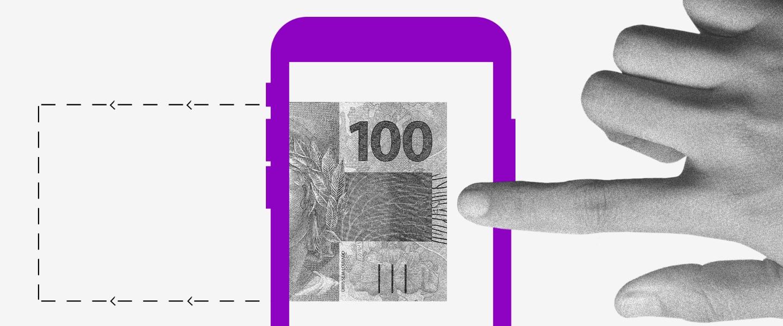 trasferência pelo pix: Ilustração de uma nota de 100 reais dentro de uma tela de celular. Uma mão estica o dedo para tocar nela.
