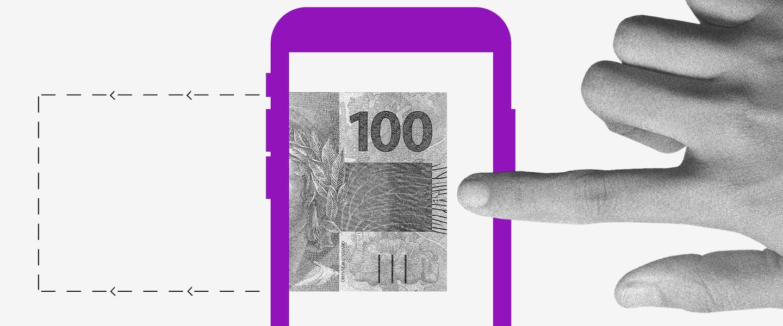 Auxílio Emergencial 2021: Ilustração de uma nota de 100 reais dentro de uma tela de celular. Uma mão estica o dedo para tocar nela.