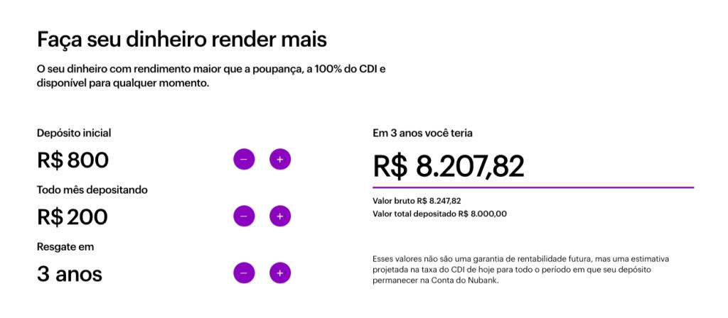 Print do simulador de rendimentos da conta do Nubank. Nele, é possível inserir depósito inicial, valor depositado todo mês e data do resgate.