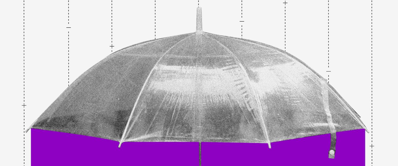 Auxílio emergencial 2021 nascidos em agosto 22 de abril: colagem de um guarda-chuva com linhas caindo e um fundo roxo embaixo do guarda-chuva
