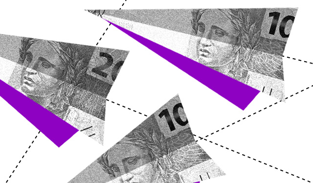 aviões de dinheiro com detalhes em roxo