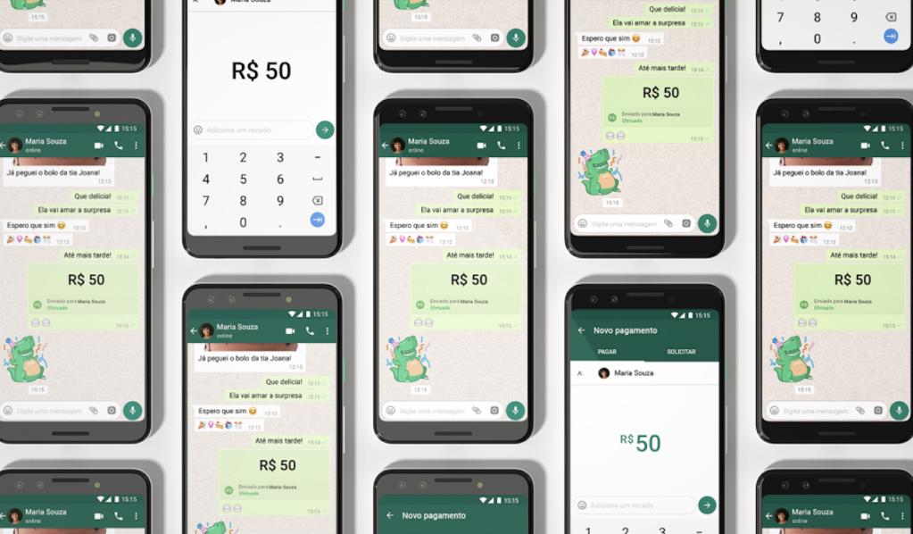 WhatsApp Pay Pagamentos: ilustração digital de diversos celular, um ao lado do outro, com o WhatsApp aberto