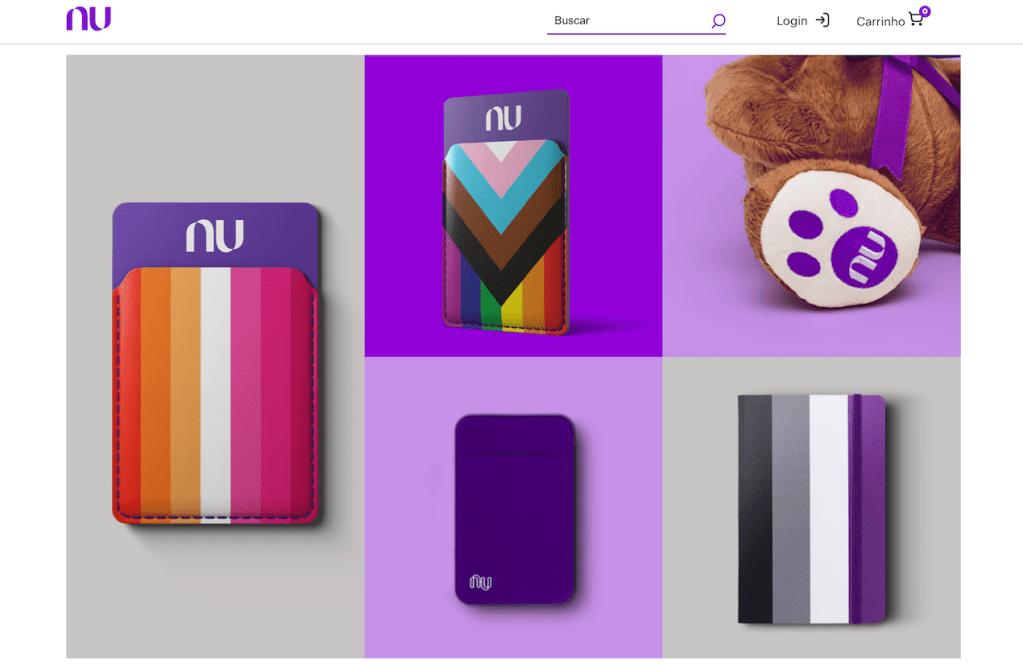 Loja Nubank: imagem da Lojinha do Nu com os produtos disponíveis: ursinho TED, portão-cartão Nubank e coleção LGBTQIA+ de caderninhos e porta-cartões