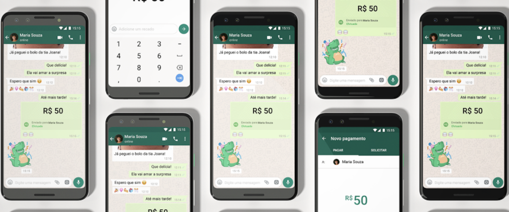 Cloned WhatsApp: digital illustration of several cell phones, one next to the other, with WhatsApp open