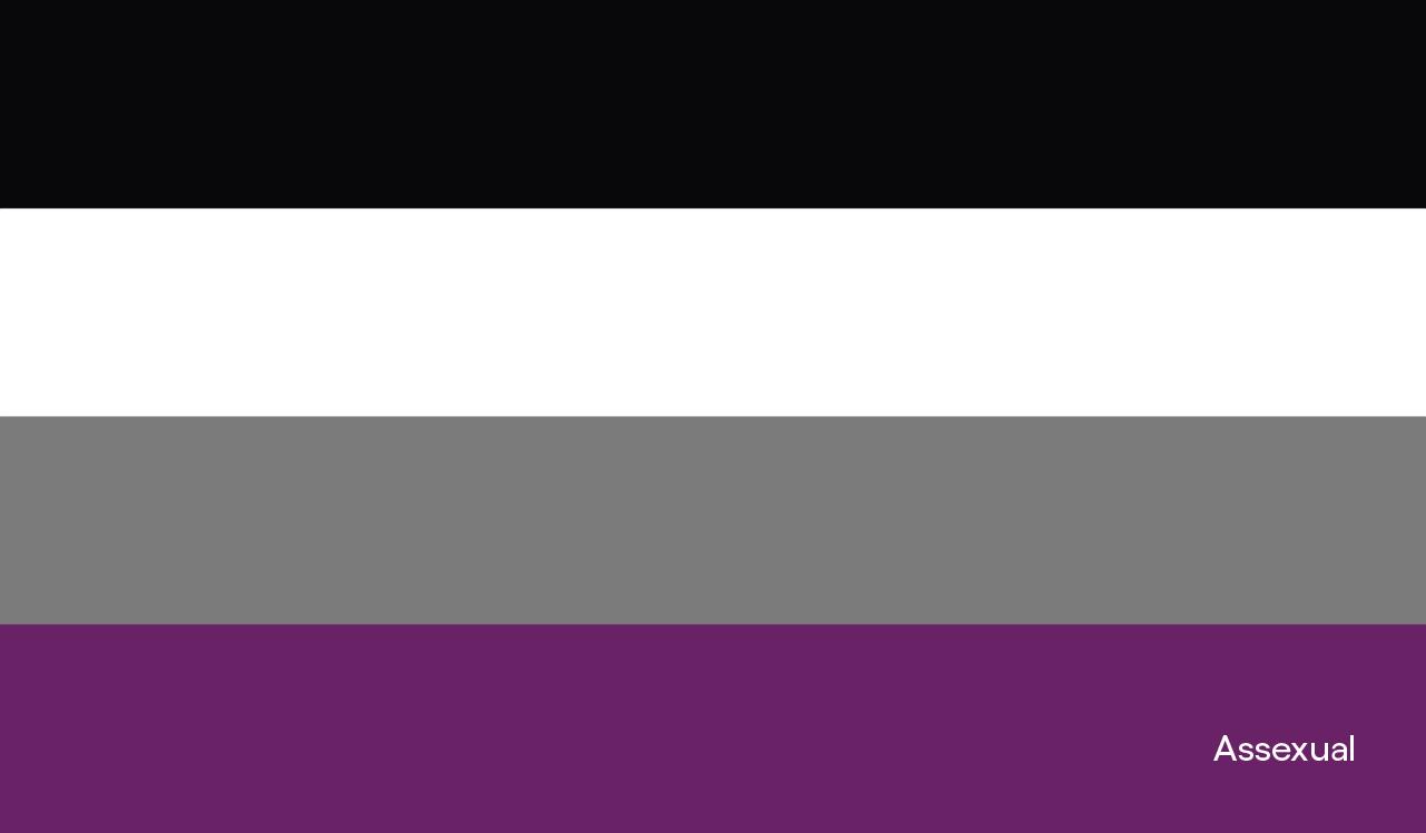 Nosso roxo é de orgulho: imagem da bandeira assexual, com a palavra assexual no canto inferior direito. A bandeira assexual é composta por, de cima para baixo, uma listra preta, uma listra branca, uma listra cinza e uma listra roxa