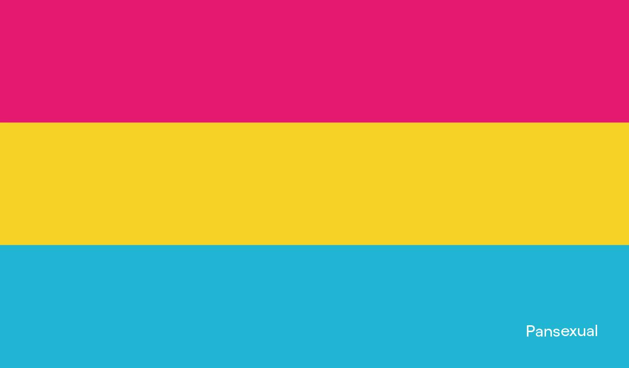 Nosso roxo é de orgulho: imagem da bandeira pansexual, com a palavra pansexual no canto inferior direito. A bandeira pansexual é composta por, de cima para baixo, uma listra magenta, uma listra amarela e uma listra azul.