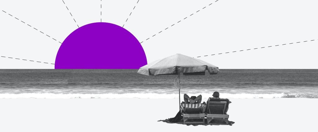 Colagem de uma pessoa descansando em uma cadeira de praia olhando para um sol roxo se pondo no mar