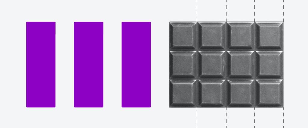 Ilustração de uma barra de chocolate separada em vários quadradinhos. Ao lado dela estão três colunas roxas.