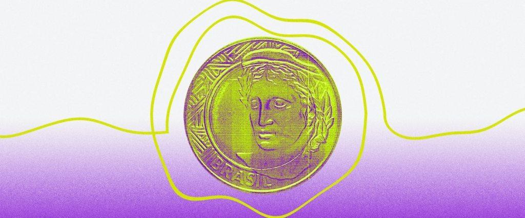 Uma moeda dourada com linhas amarelas o rodeando, num fundo entre roxo e branco