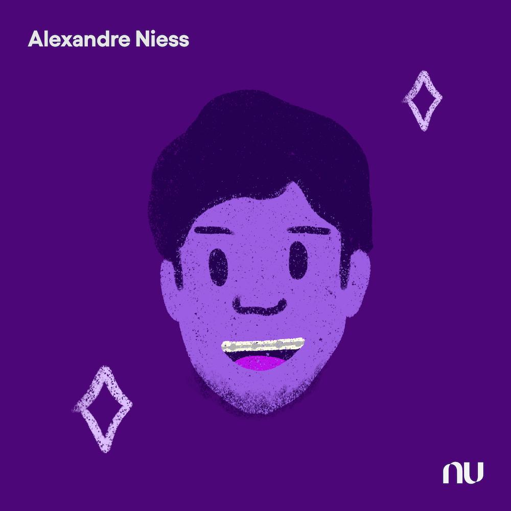 Dia do Cliente: No fundo roxo escuro, ilustração do rosto de Alexandre Niess com o logo do Nu no canto inferior direito e o nome no canto superior esquerdo.