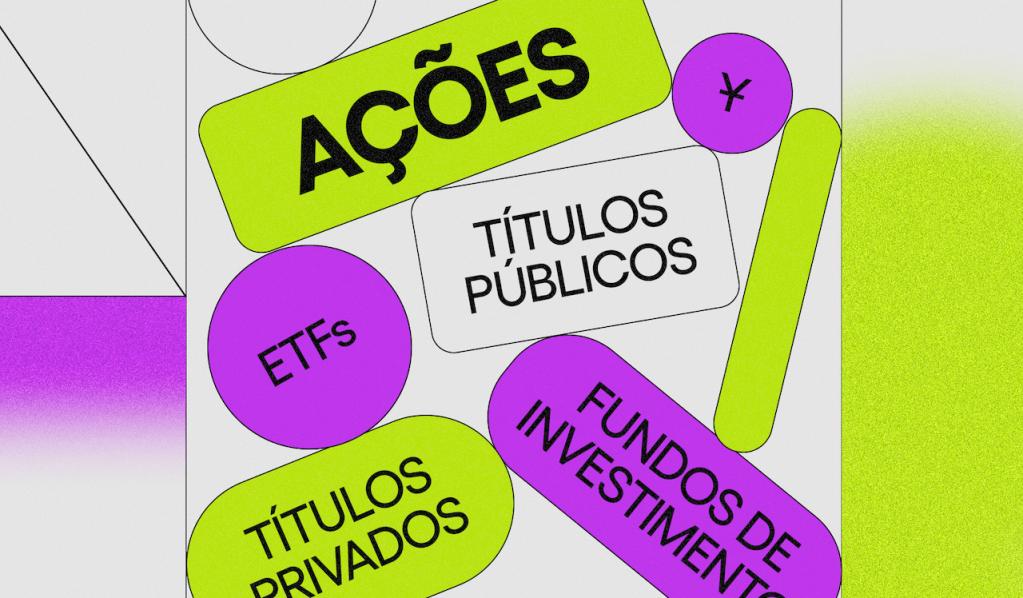Ilustração com vários polígonos (bola, retangulo etc) com nomes de ativos financeiros escritos dentro: ações, títulos públicos, ETFs, fundos de investimento, títulos privados.