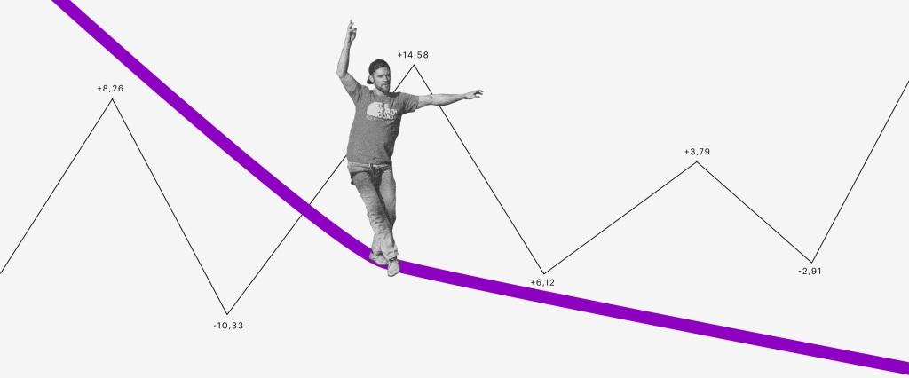 Investir em ações; ações. Imagem mostra homem andando numa espécie de corda bamba roxa com gráficos e números ao fundo que lembram um painel da bolsa de valores.