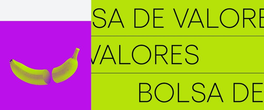 Investir em ações; ações. Imagem com fundo roxo e verde, a ilustração de uma banana e com o texto escrito Bolsa de Valores.