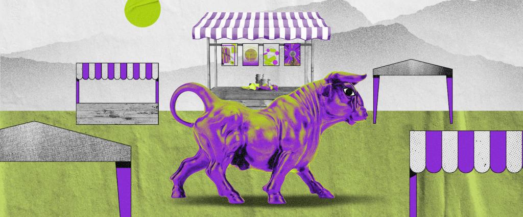 Investir em ações; ações. Imagem mostra uma ilustração com fundo de paisagem verde com montanhas cinzas ao fundo, três barracas de feira com detalhes roxos e um touro da cor roxa no centro da imagem.